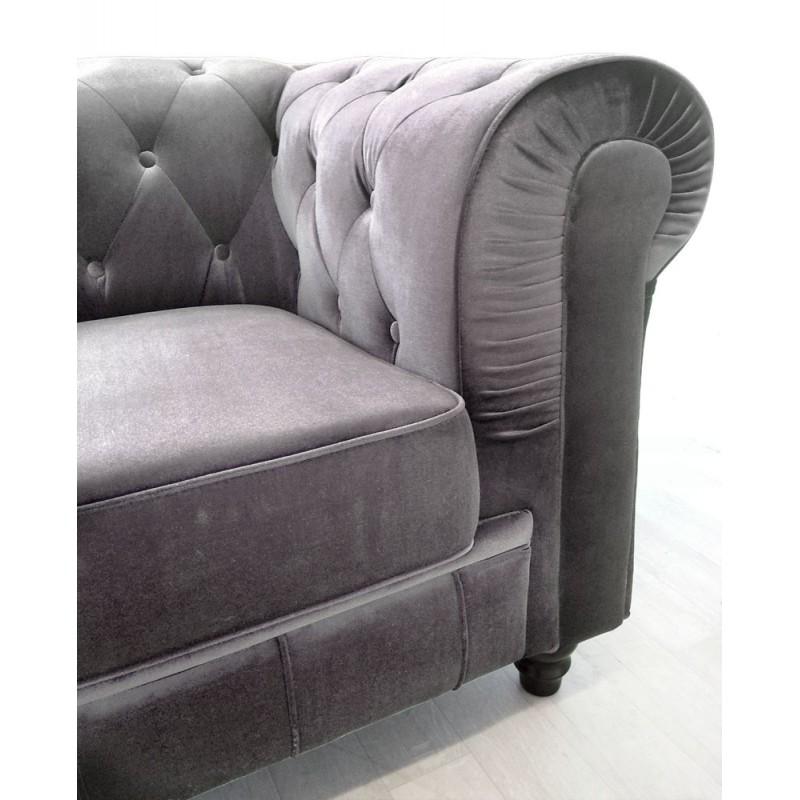 canap 3 places chesterfield velours pas cher british d co. Black Bedroom Furniture Sets. Home Design Ideas