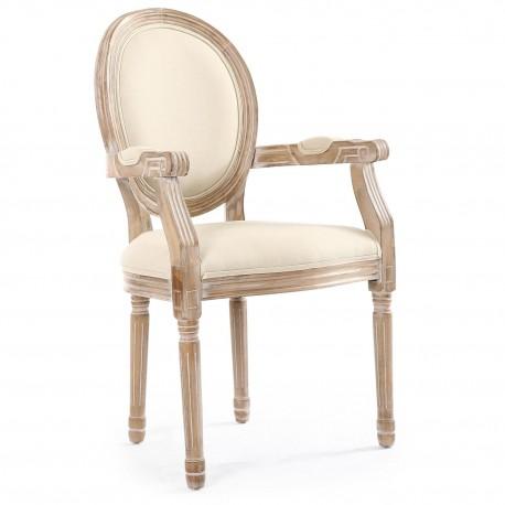 Chaises médaillon Louis XVI Tissu Beige Lot de 2
