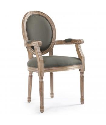 Chaises médaillon Louis XVI Tissu Gris Lot de 2