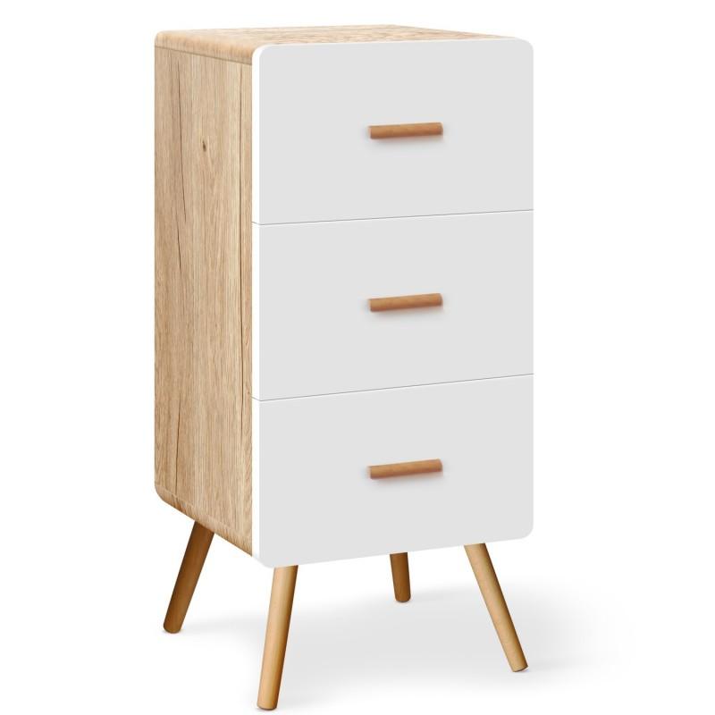 commode scandinave 3 tiroirs amanda ch ne clair et blanc pas cher british d co. Black Bedroom Furniture Sets. Home Design Ideas
