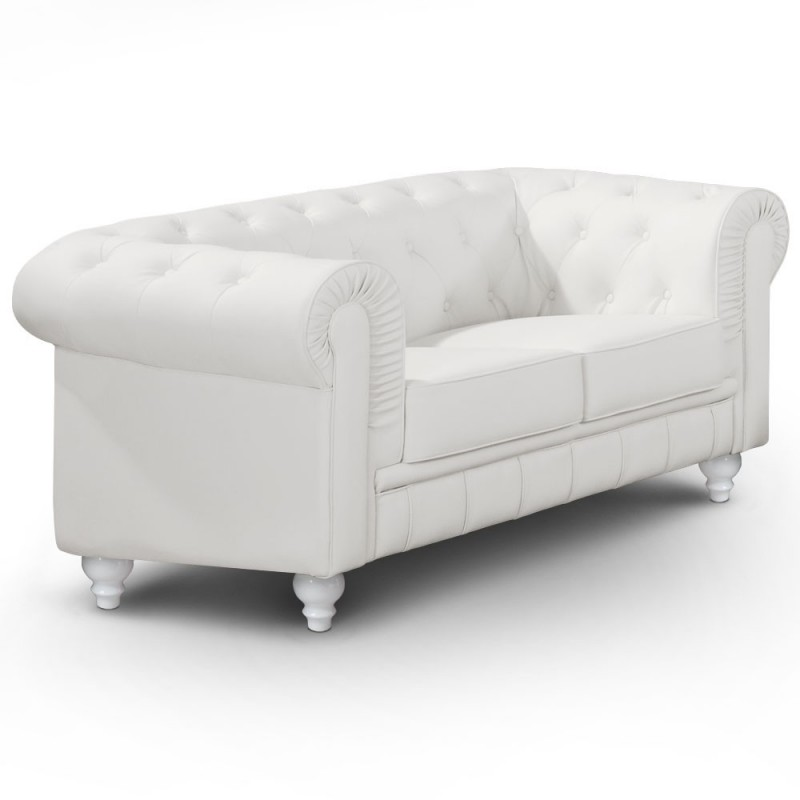 Canap 2 places chesterfield blanc pas cher british d co - Canape chesterfield 2 places ...