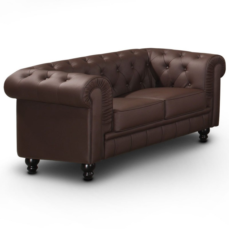 Canap 2 places chesterfield marron pas cher british d co - Canape chesterfield 2 places ...