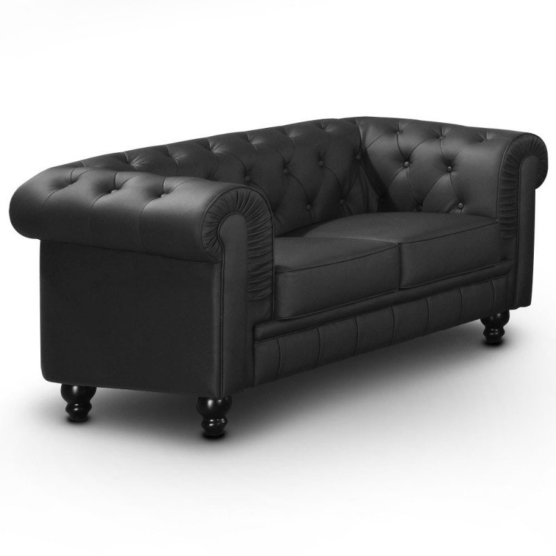 canap 2 places chesterfield noir pas cher british d co. Black Bedroom Furniture Sets. Home Design Ideas