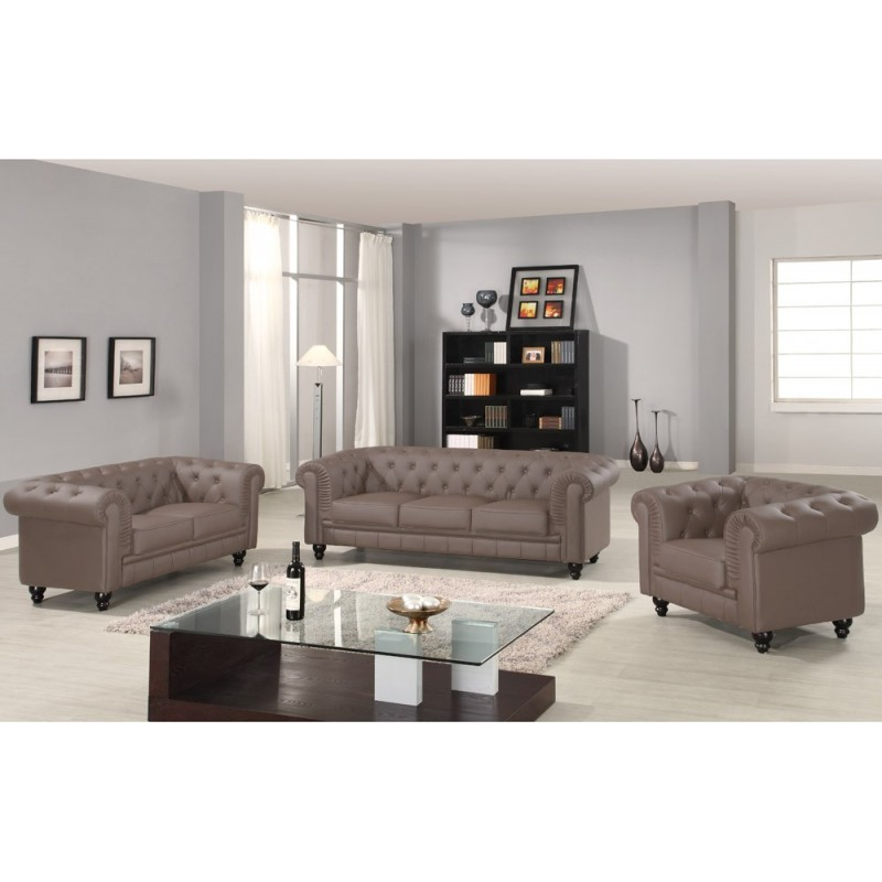 canap 2 places chesterfield taupe pas cher british d co. Black Bedroom Furniture Sets. Home Design Ideas