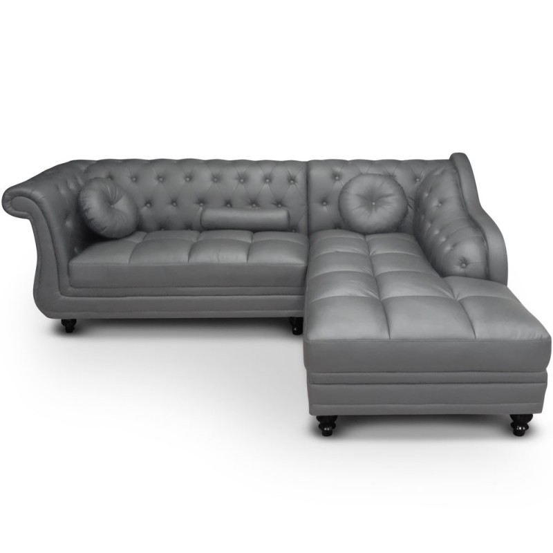 Canap d 39 angle gris chesterfield pas cher british d co - Canape chesterfield gris ...