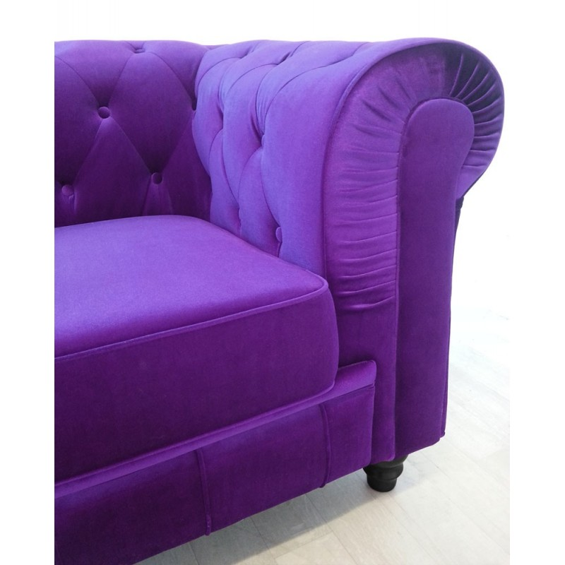 canape 3 places chesterfield velours violet pas cher british d co. Black Bedroom Furniture Sets. Home Design Ideas