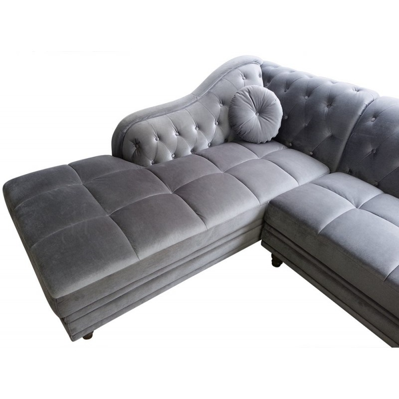 canap d 39 angle chesterfield en velours gris argent gauche pas cher british d co. Black Bedroom Furniture Sets. Home Design Ideas