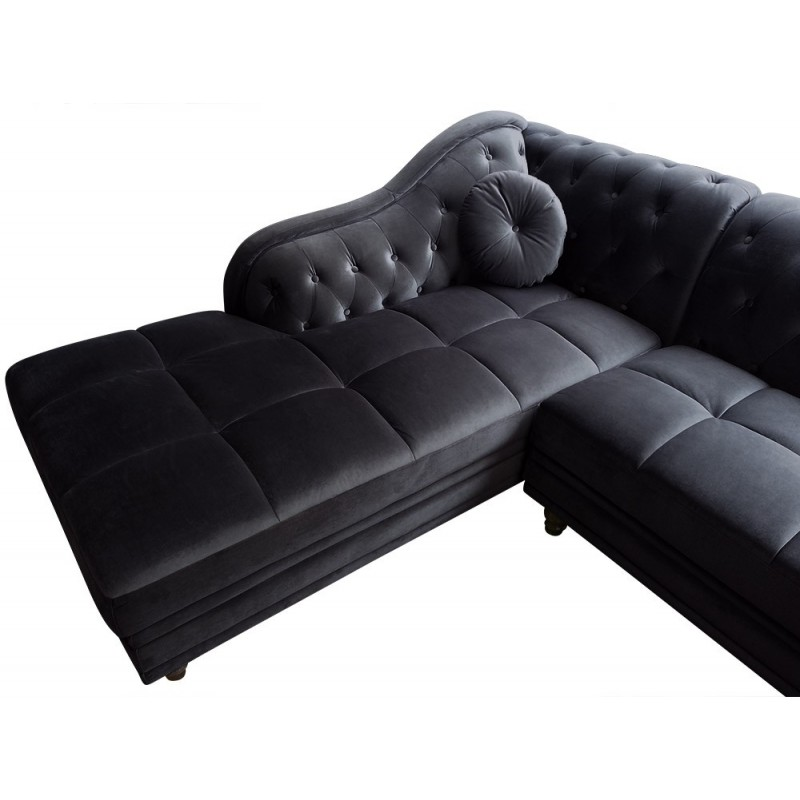 canap d 39 angle velours noir chesterfield pas cher. Black Bedroom Furniture Sets. Home Design Ideas