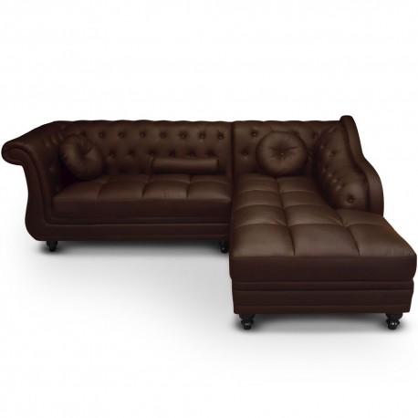 Canapé d'angle Droit 5 places Marron Cuir Simili