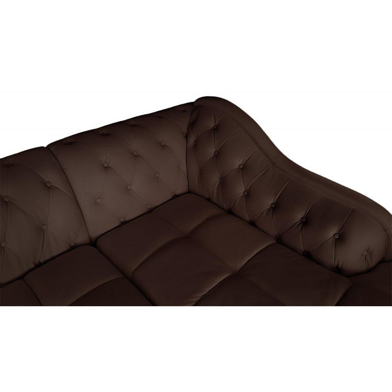 Canap d 39 angle droit 5 places marron cuir simili pas cher british d co - Canape angle cuir marron ...