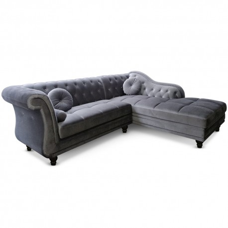 canap d 39 angle chesterfield en velours gris argent droit pas cher british d co. Black Bedroom Furniture Sets. Home Design Ideas