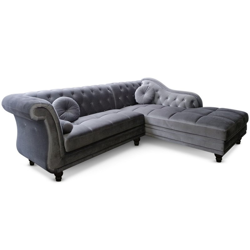 canap d 39 angle chesterfield en velours gris argent droit. Black Bedroom Furniture Sets. Home Design Ideas