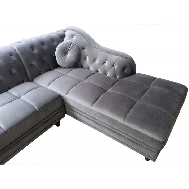 Canap d 39 angle chesterfield en velours gris argent droit for Canape chesterfield velours