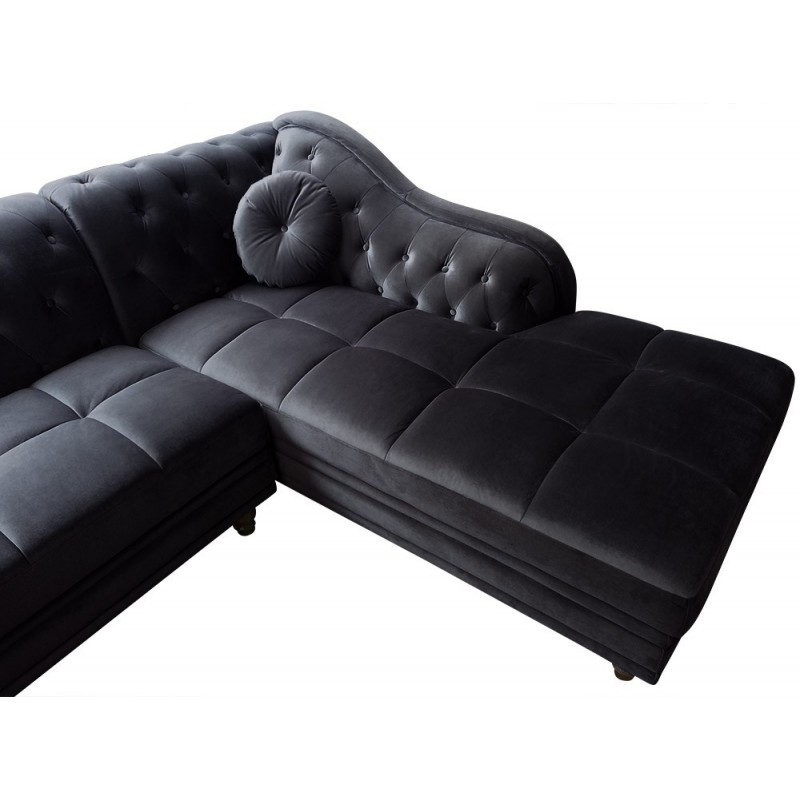 canap d 39 angle brittish velours noir style chesterfield. Black Bedroom Furniture Sets. Home Design Ideas