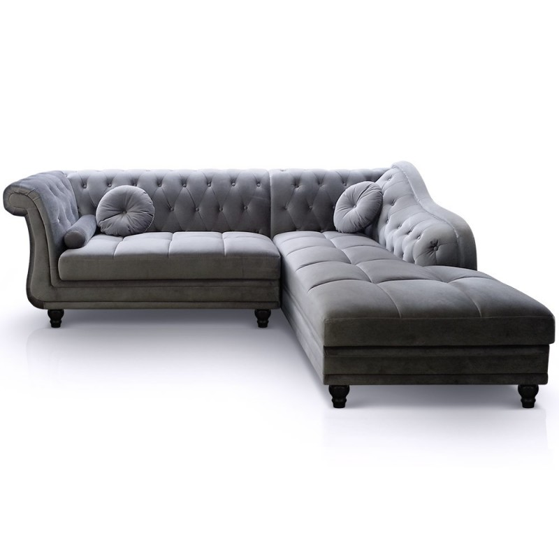Canap d 39 angle velours chesterfield pas cher british d co - Canape chesterfield velour ...