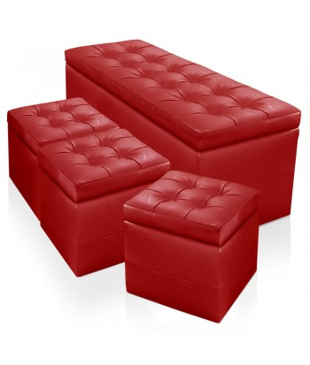 Banquette Chesterfield Rouge XL + 3 Poufs Oxford