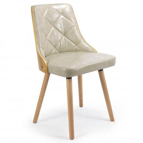 Chaises Scandinaves matelassé Bois chêne clair simili cuir : Lot de 2 chaises