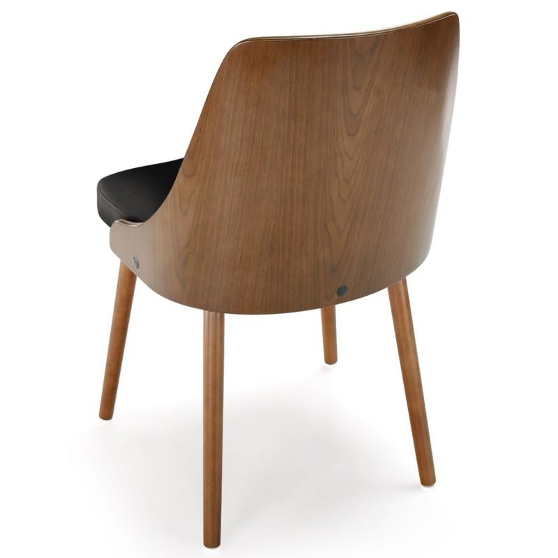Chaises scandinaves matelass bois noisette noir lot de for Chaise en bois prix