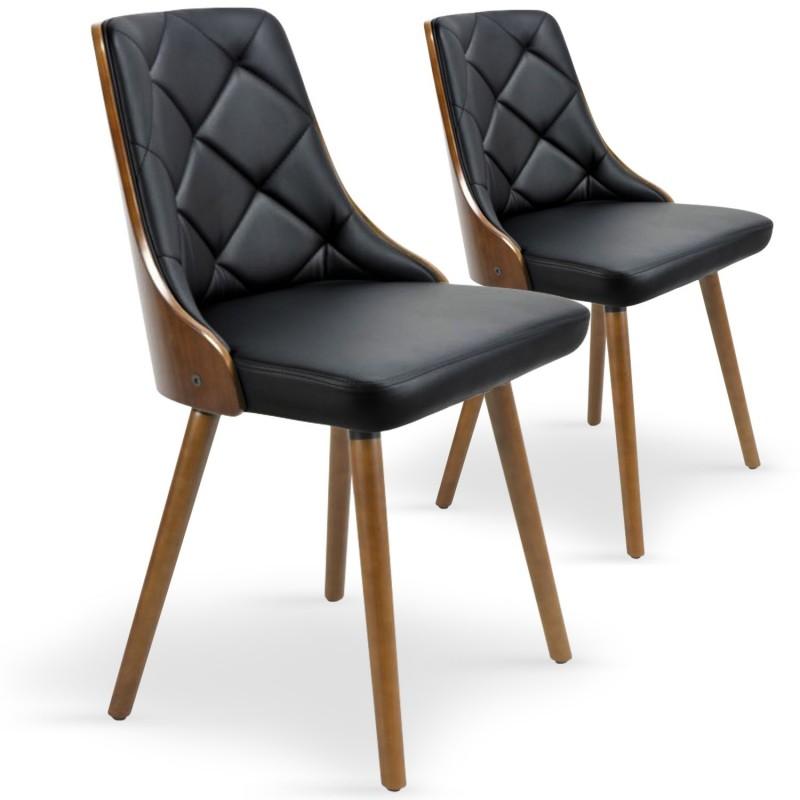Chaises scandinaves matelass bois noisette noir lot de 2 pas cher br - Chaises scandinaves bois ...