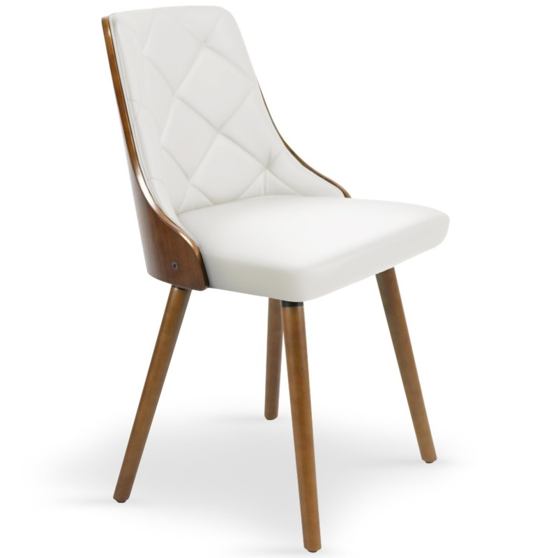 Chaises scandinaves matelass bois noisette blanc lot de 2 pas cher b - Chaises en bois blanc ...