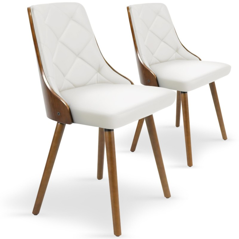 Chaises scandinaves matelass bois noisette blanc lot de for Chaise en bois prix