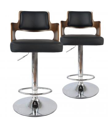 Chaises de bar vintage carré Bois Noisette & Noir Lot de 2