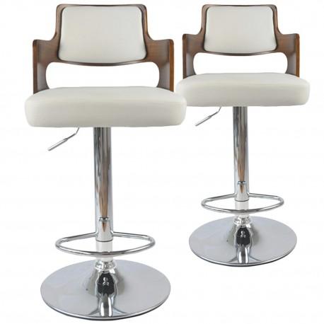 Chaises de bar vintage carré Bois Noisette & Blanc Lot de 2