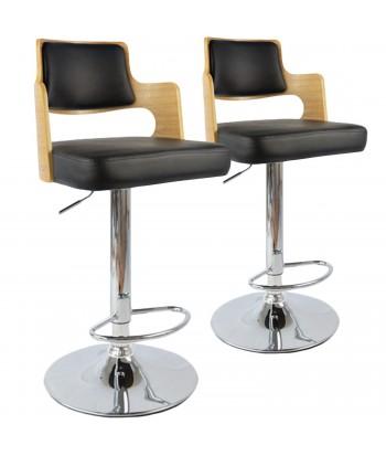 Chaises de bar vintage carré Chêne Clair & Noir Lot de 2