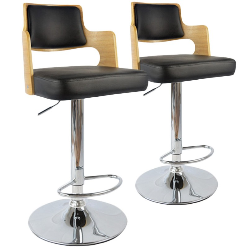 chaises de bar vintage carr ch ne clair noir lot de 2. Black Bedroom Furniture Sets. Home Design Ideas