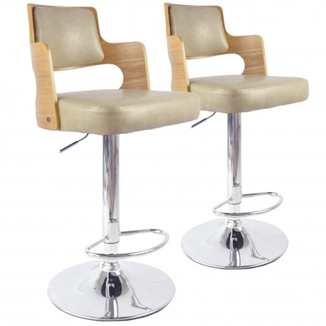 Chaises de bar vintage carré Chêne Clair & Crème Lot de 2