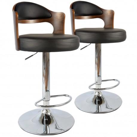 Chaises de bar vintage Bois Noisette & Noir Lot de 2