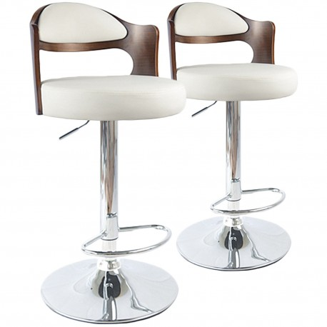 Chaises de bar vintage Bois Noisette & Blanc Lot de 2