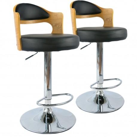 Chaises de bar vintage Chêne Clair & Noir Lot de 2