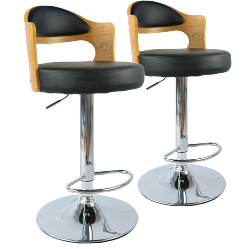 chaises de bar vintage ch ne clair noir lot de 2 pas cher british d co. Black Bedroom Furniture Sets. Home Design Ideas