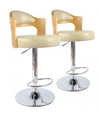 Chaises de bar vintage Chêne Clair & Crème Lot de 2