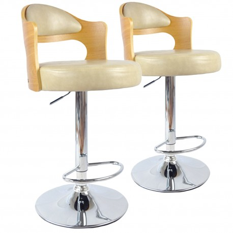 chaises de bar vintage ch ne clair cr me lot de 2 pas cher british d co. Black Bedroom Furniture Sets. Home Design Ideas