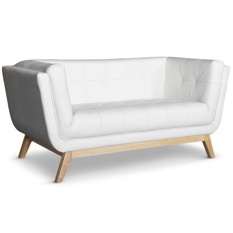 Canapé scandinave 2 places design Blanc