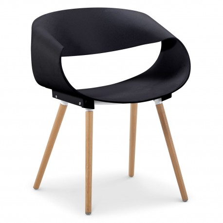 Chaises scandinaves design Zenata Noir Lot de 2