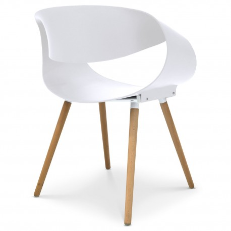 Chaises scandinaves design Zenata Blanc Lot de 2