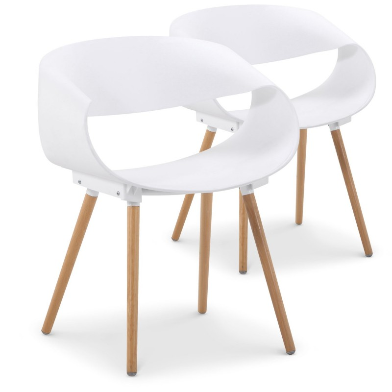 chaises scandinaves design zenata blanc lot de 2 pas cher