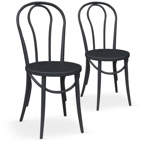Chaises bistrot Noir Mat Lot de 2