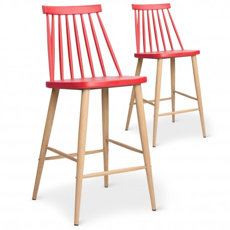 Lot de 2 chaises de bar scandinaves Trouville Rouge