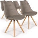Lot de 4 chaises scandinaves Goya Tissu Beige