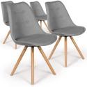Lot de 4 chaises scandinaves Goya Tissu Gris