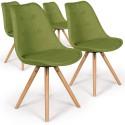 Lot de 4 chaises scandinaves Goya Tissu Vert