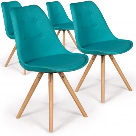 Lot de 4 chaises scandinaves Goya Tissu Bleu