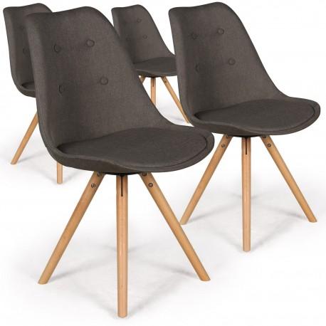 Lot de 4 chaises scandinaves Goya Tissu Taupe foncé