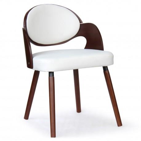 Chaise scandinave Estel Bois Noisette et Blanc