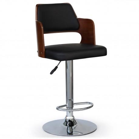 Chaise de bar scandinave Tara bois Noisette et Noir