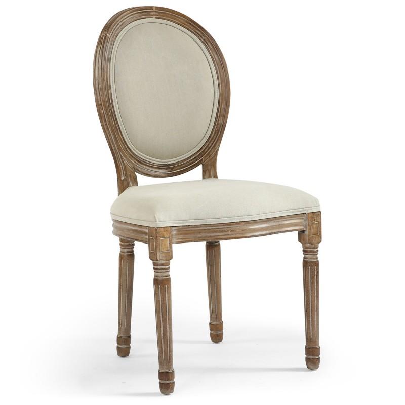 lot de 2 chaises de style m daillon louis xvi tissu beige british deco. Black Bedroom Furniture Sets. Home Design Ideas